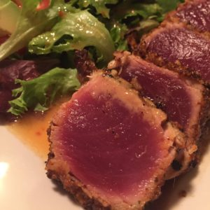 seared ahi with lavender macadamia nut crust