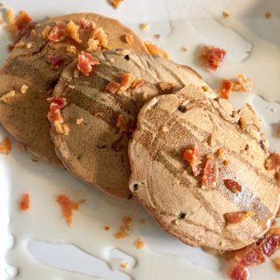 chocolate macadamia nut pancakes with bacon
