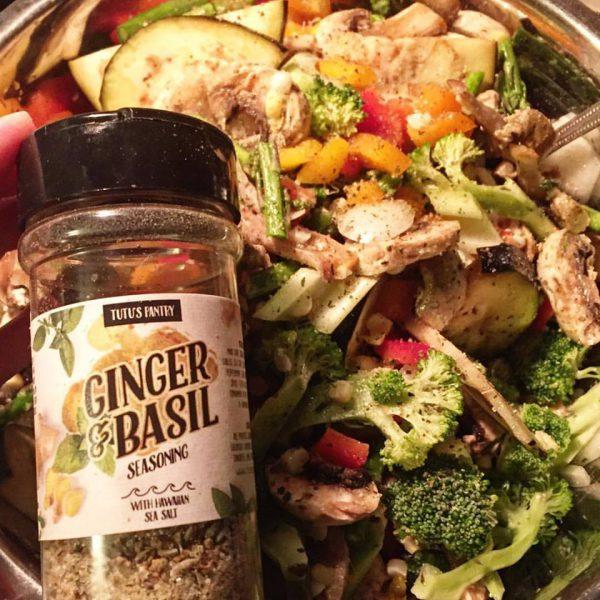 roasted veggies using ginger and basil