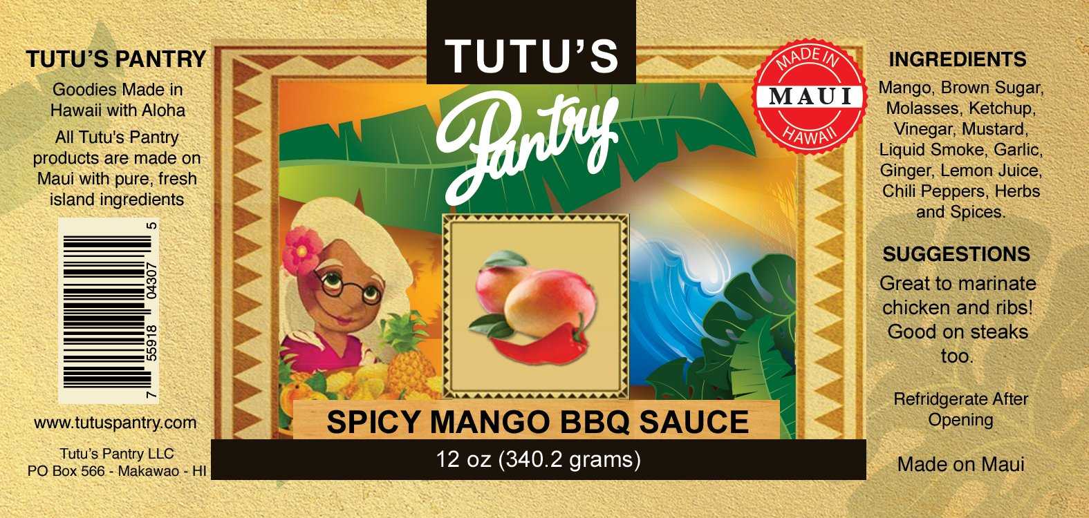 spicy mango bbq label