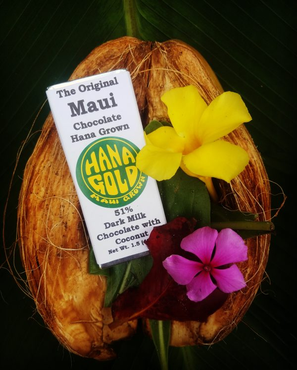 Tutu's Pantry - Hana Gold Maui Chocolates - 51% dark milk chocolate bar with coconut - 1
