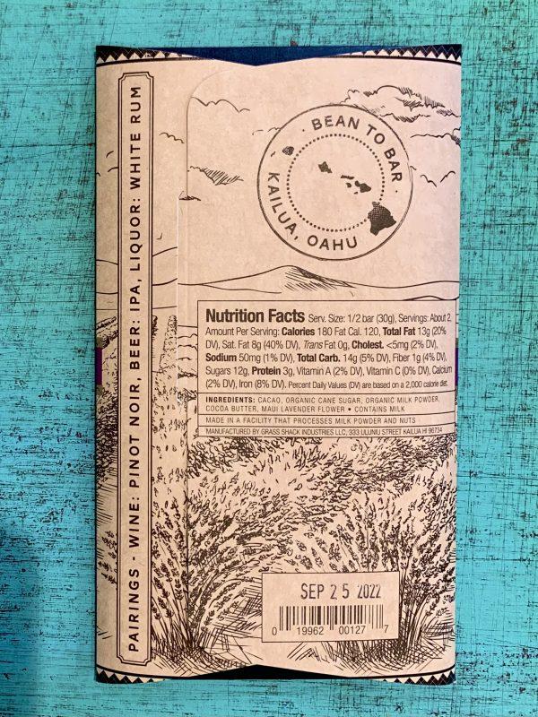 Tutu's Pantry - Ali'i Kula Lavender Manoa Chocolate - 60% Dark Milk Chocolate - 2
