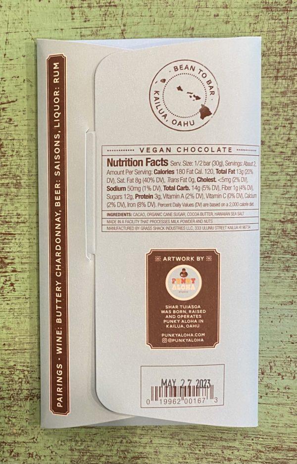 Tutu's Pantry - Sea Salt Manoa Chocolate - 72% Dark Chocolate - 2